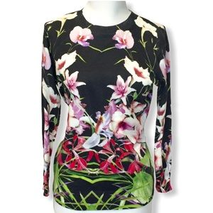 Ted Baker Black Floral Sweater Pullover Tropical 1